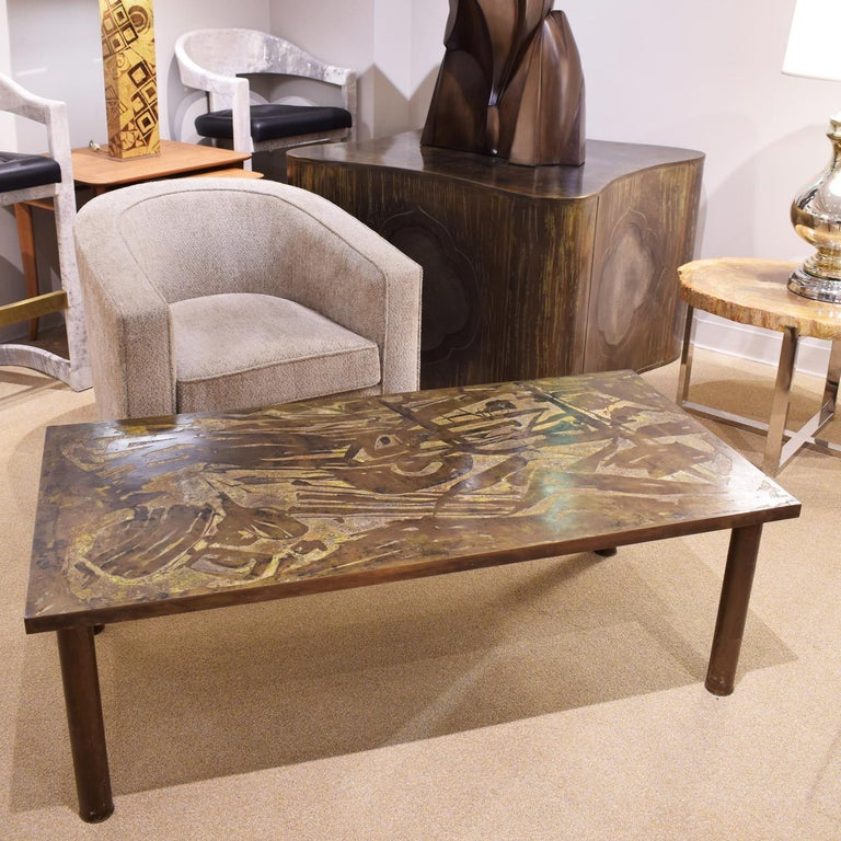 Mid-20th Century Philip & Kelvin LaVerne Unique Abstract Design Coffee Table 1966 'Signed' For Sale