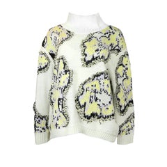 Philip Lim Beige/Yellow Wool Abstract Daisy Sweatshirt sz L rt. $595