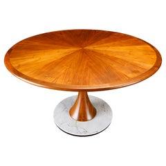 Philip Lloyd Powell Walnut, Marble and Ebonized Wood Center Dining Table, 1970s