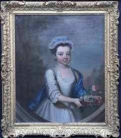 Portrait of a Girl with Basket of Flowers -British 18thC Old Master oil painting