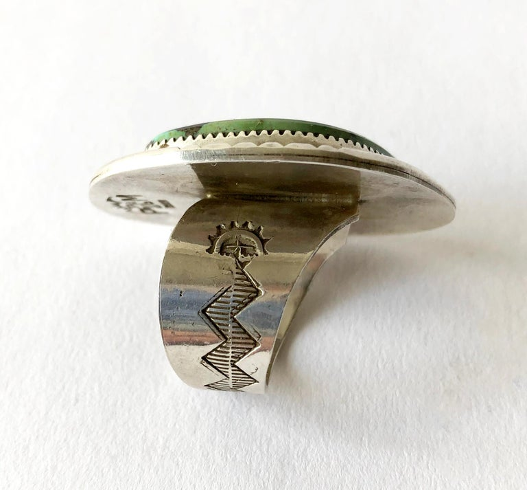 Philip Morse Sterling Silver Turquoise Navajo Gentlemans Ring In Good Condition For Sale In Los Angeles, CA