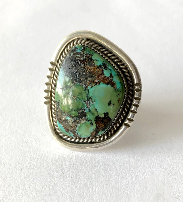 Philip Morse Sterling Silver Turquoise Navajo Gentlemans Ring For Sale 1