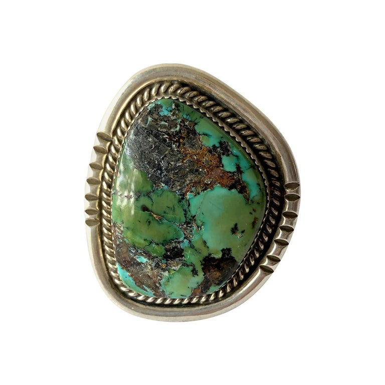 Philip Morse Sterling Silver Turquoise Navajo Gentlemans Ring For Sale