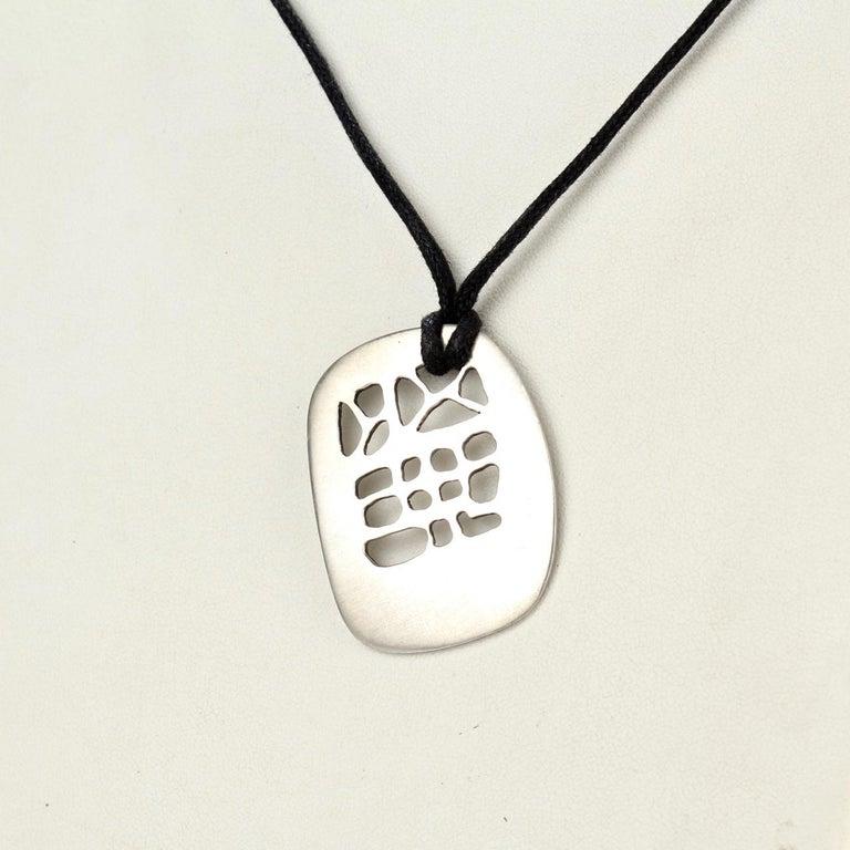 Philip Morton Mid-Century Modern Sterling Silver Modernist Pendant Necklace For Sale 1