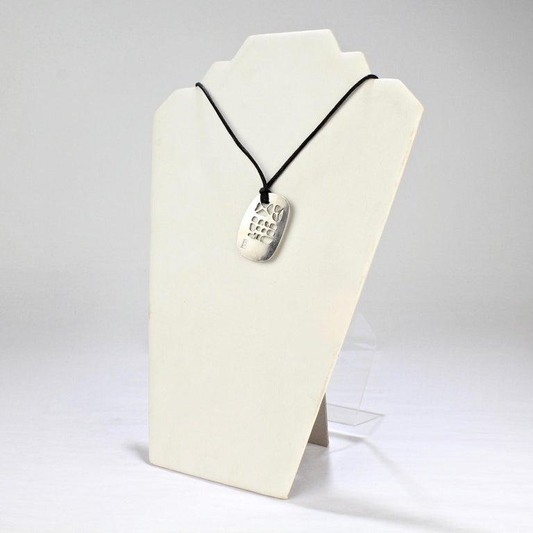 Philip Morton Mid-Century Modern Sterling Silver Modernist Pendant Necklace For Sale 2