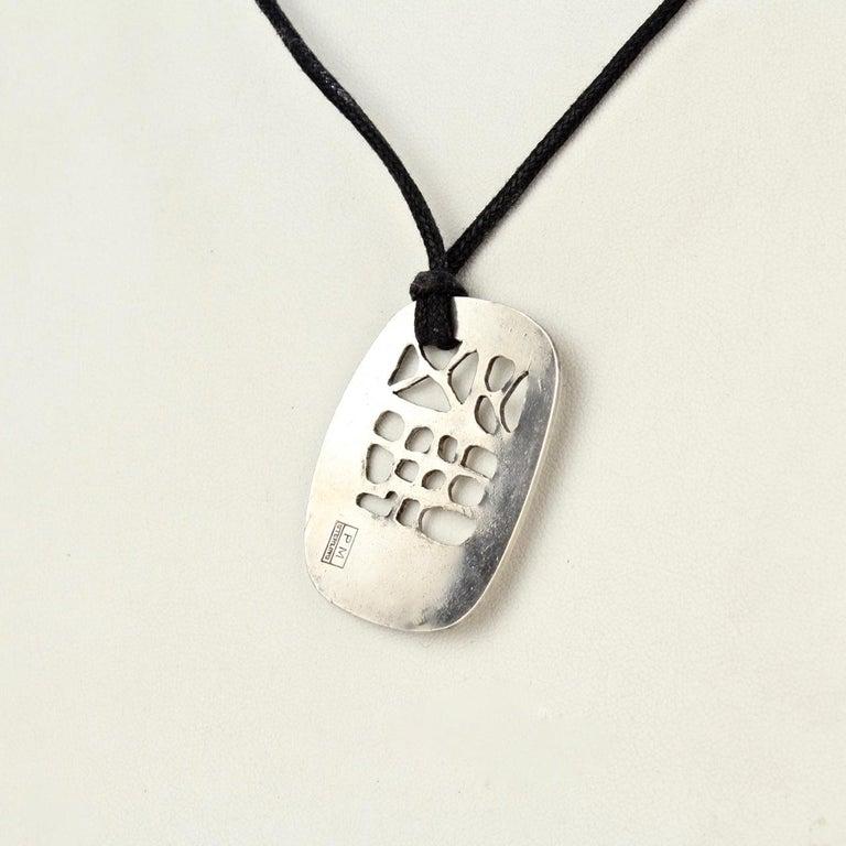 Philip Morton Mid-Century Modern Sterling Silver Modernist Pendant Necklace For Sale 3