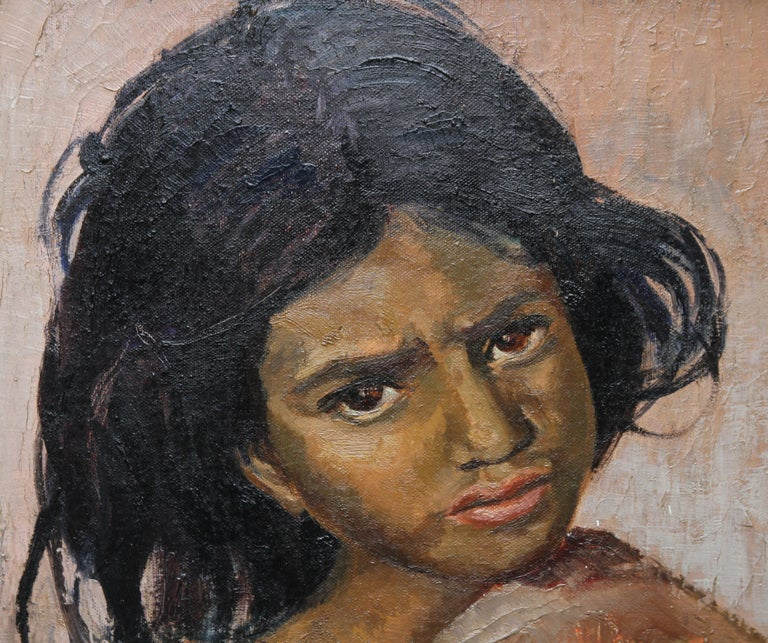 Portrait of a Young Girl - British art 1930's Impressionist oil painting 3