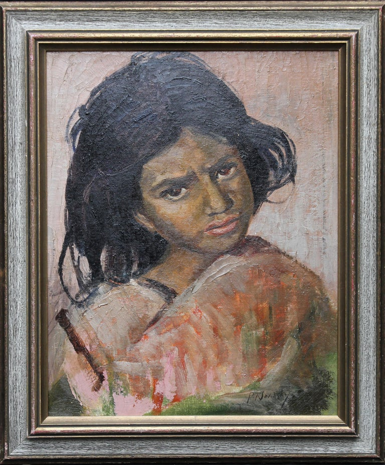 Portrait of a Young Girl - British art 1930's Impressionist oil painting 8