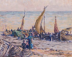 A British 20th Century Post Impressionist oil painting of boats on the seashore