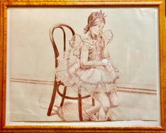 Girl in Ballerina Dress (Thonet Chair) Color Lithograph, American Modernist
