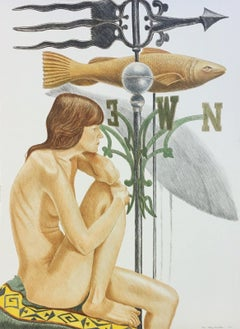 NUDE MODEL WITH BANNER AND FISH WEATHERVANE