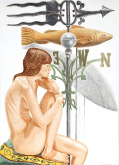 Nude Model with Banner and Fish Weathervanes, by Philip Pearlstein