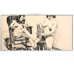 """Two Female Models on Rocker and Stool"" Lithograph with Seated Nude Females"