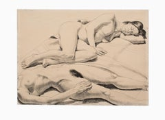 """Two Reclining Nudes"" Lithograph on Paper, Figurative, Female Nudes"