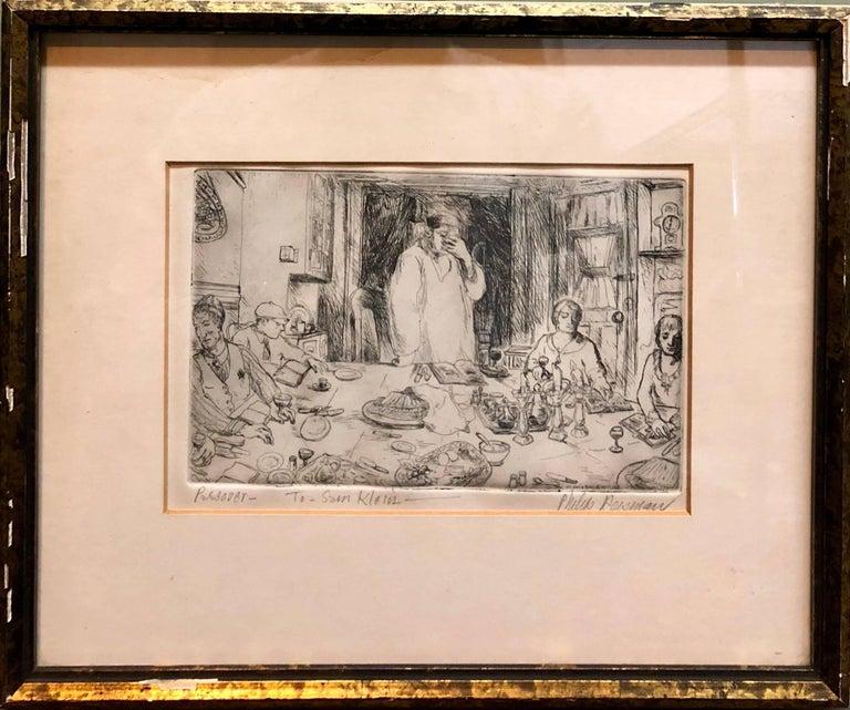 Judaica Etching Passover Seder Scene WPA Artist - Print by Philip Reisman