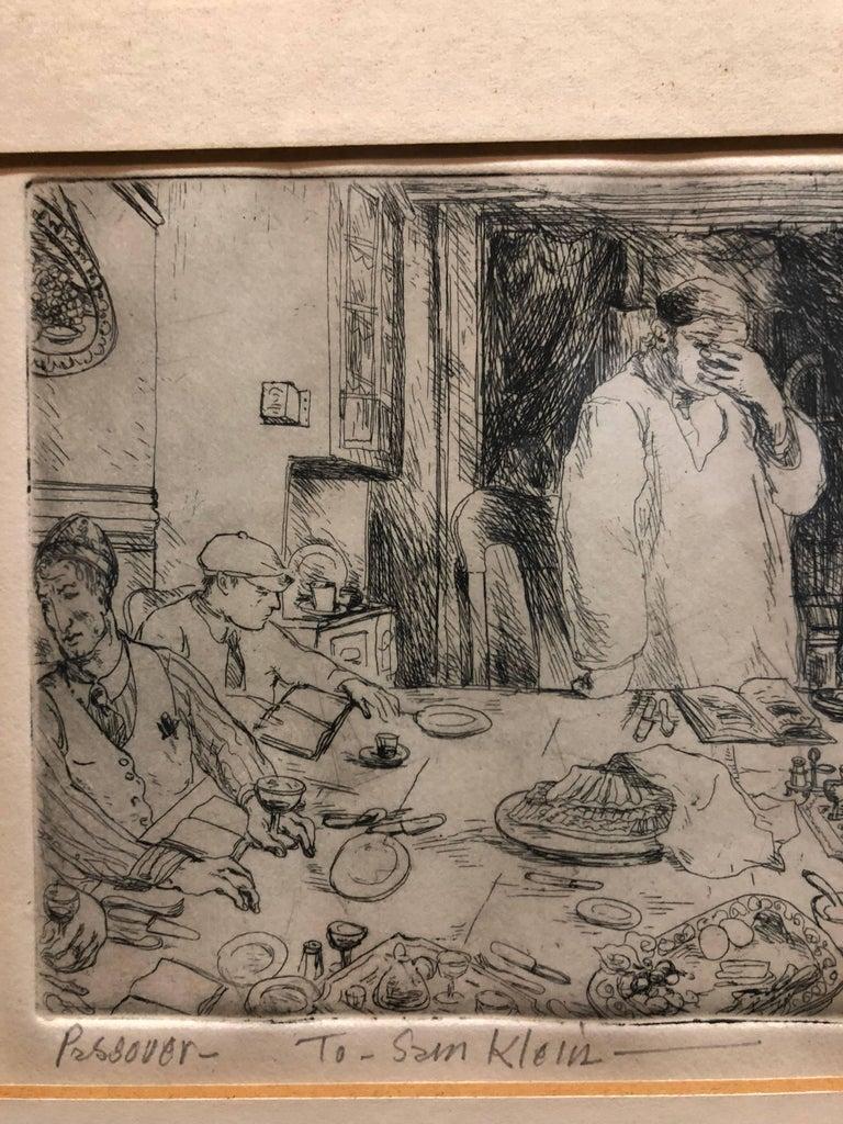 Judaica Etching Passover Seder Scene WPA Artist - American Modern Print by Philip Reisman
