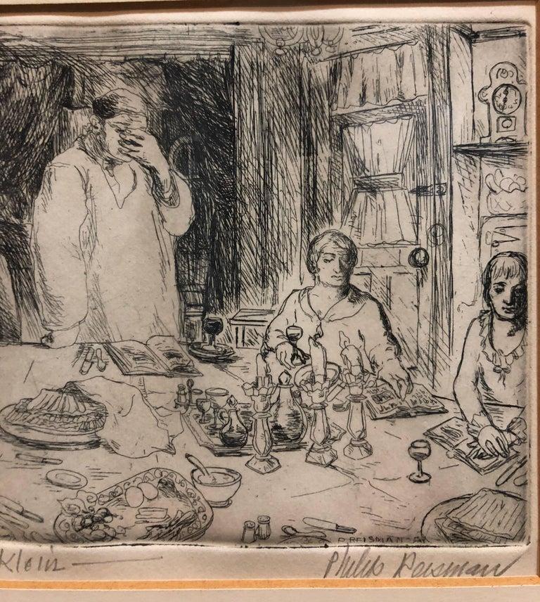 Judaica Etching Passover Seder Scene WPA Artist - Brown Figurative Print by Philip Reisman