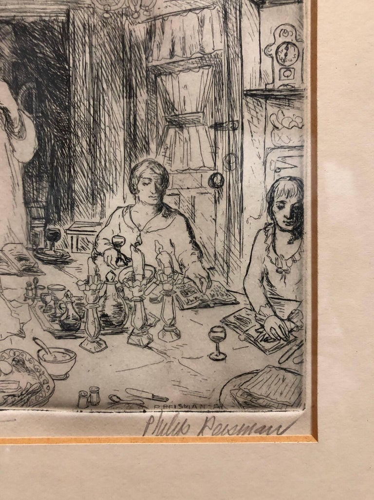 Philip Reisman, a Social Realist painter and printmaker known for his views of New York City street life. Fourteen of Mr. Reisman's etchings of New York life were in the show Works on Paper at the Museum of the City of New York. His work is also