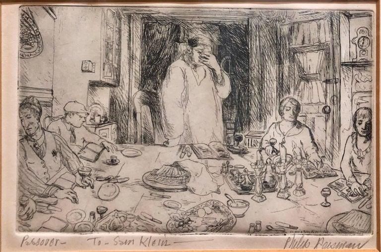 Philip Reisman Figurative Print - Judaica Etching Passover Seder Scene WPA Artist