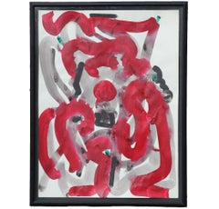 Red and Grey Gestural Painting