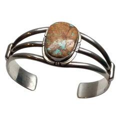 Philip Sanchez Navajo Royston Ribbon Turquoise Sterling Silver Bracelet