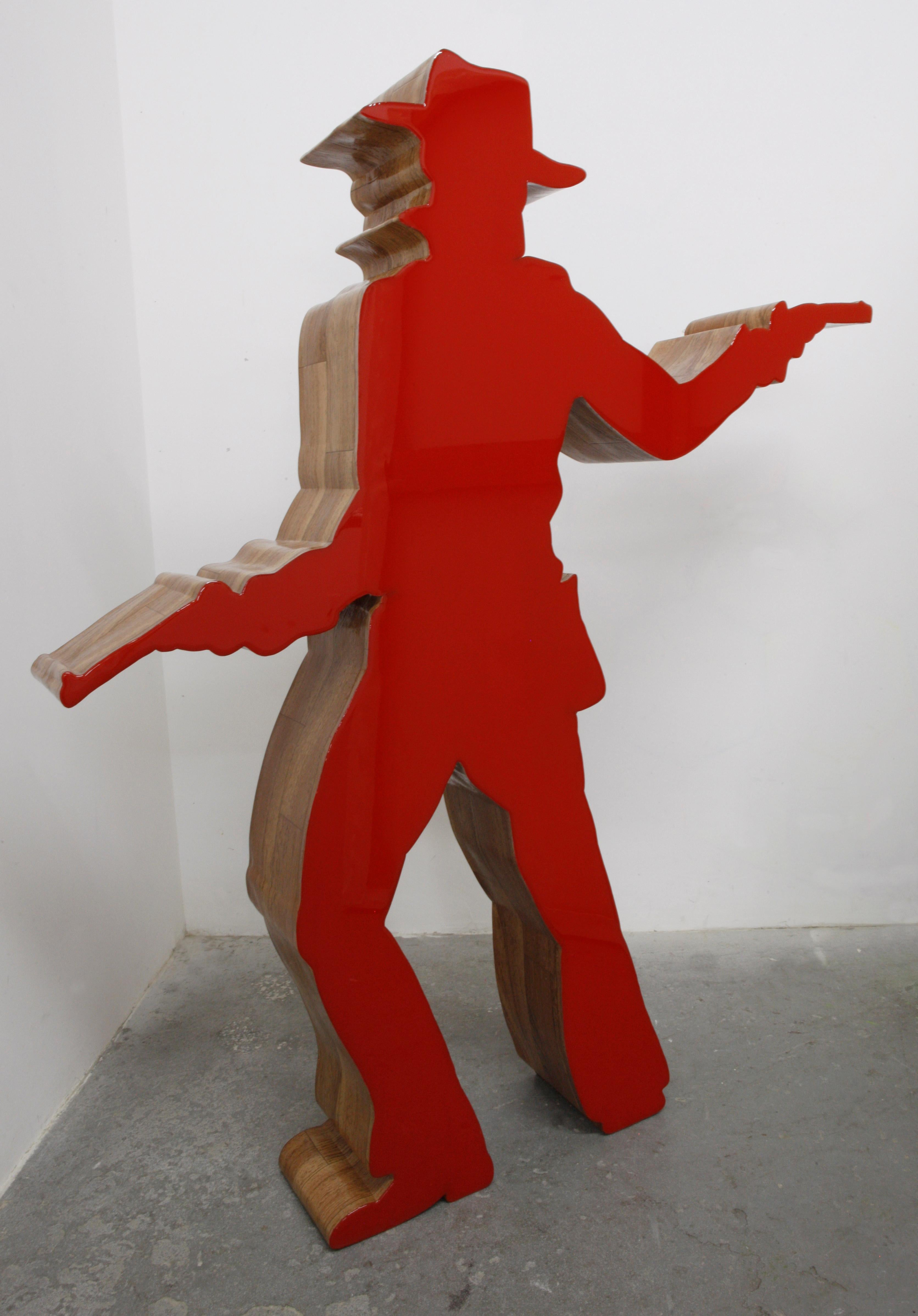 """Free Standing Sculpture """"Cowboy"""" Double Sided Red"""