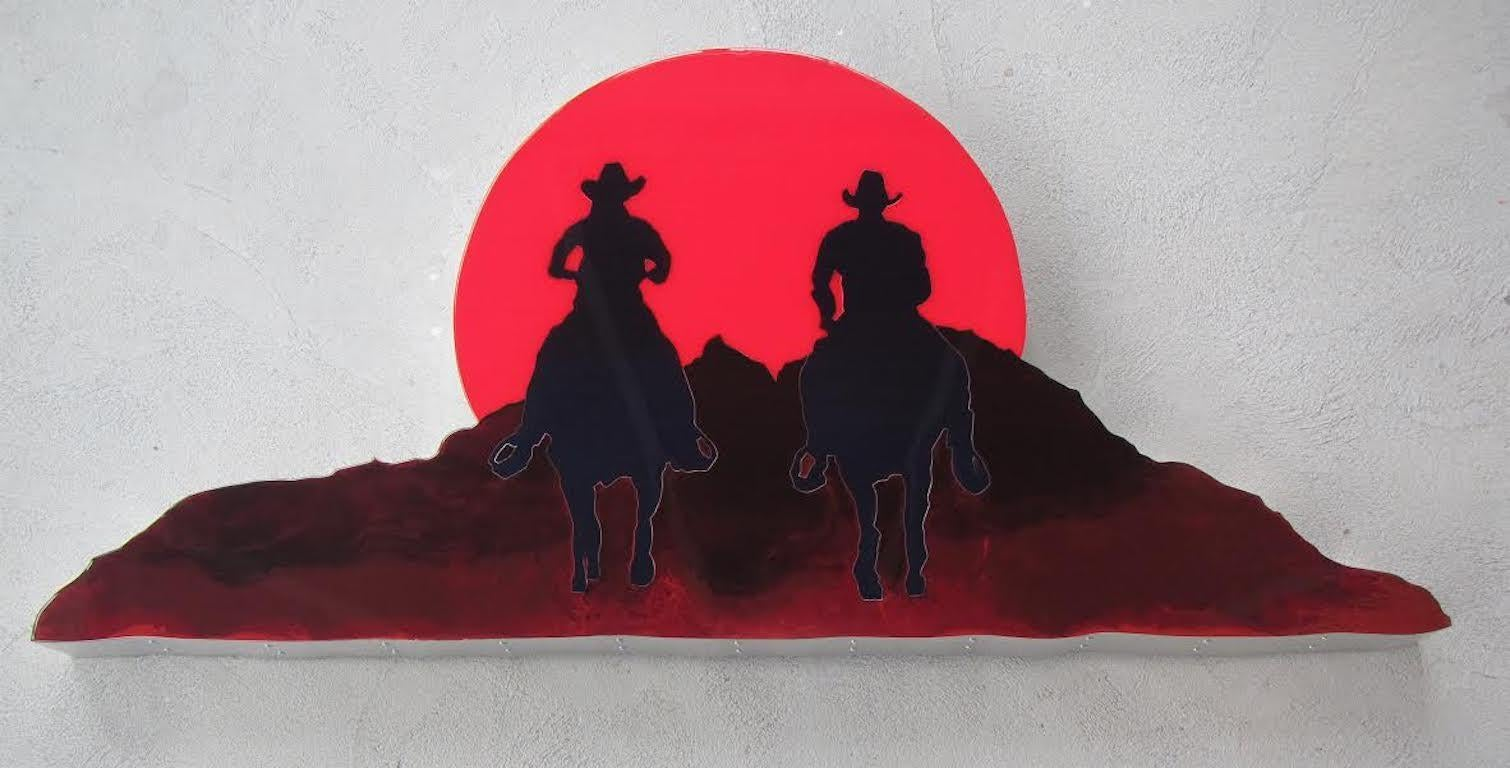 "Wall Sculpture ""Buddies"" Cowboys in Sunset"
