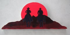 "Wall Sculpture ""Buddies"" Cowboys in Sunset"