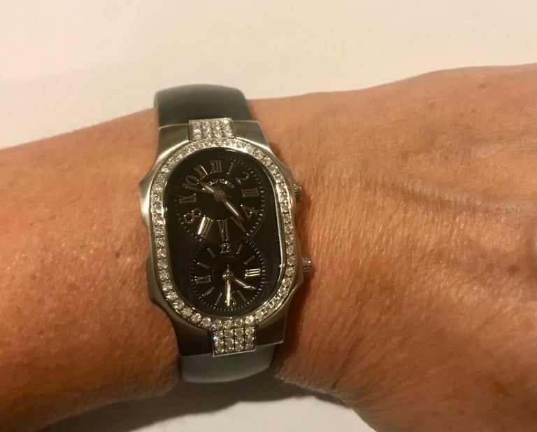 Women's Philip Stein Diamond Watch with Black Dials and Black Satin Strap For Sale