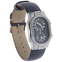 Philip Stein Diamond Watch with Black Dials and Black Satin Strap