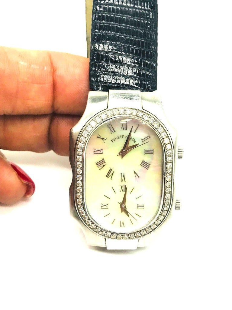 Philip Stein, Mothern of Pearl and 1 Carat Diamond, 2-Time Zone Watch In Good Condition For Sale In Aliso Viejo, CA