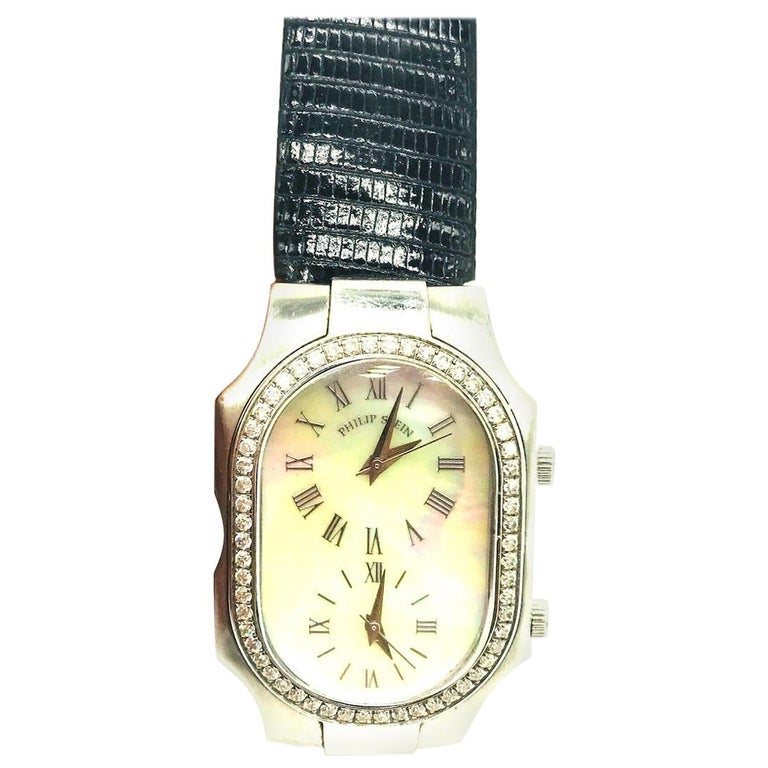 Philip Stein, Mothern of Pearl and 1 Carat Diamond, 2-Time Zone Watch For Sale
