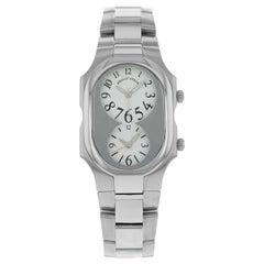 Philip Stein Signature Steel Silver Dial Dual Time Quartz Unisex Watch 2-G-FW-SS