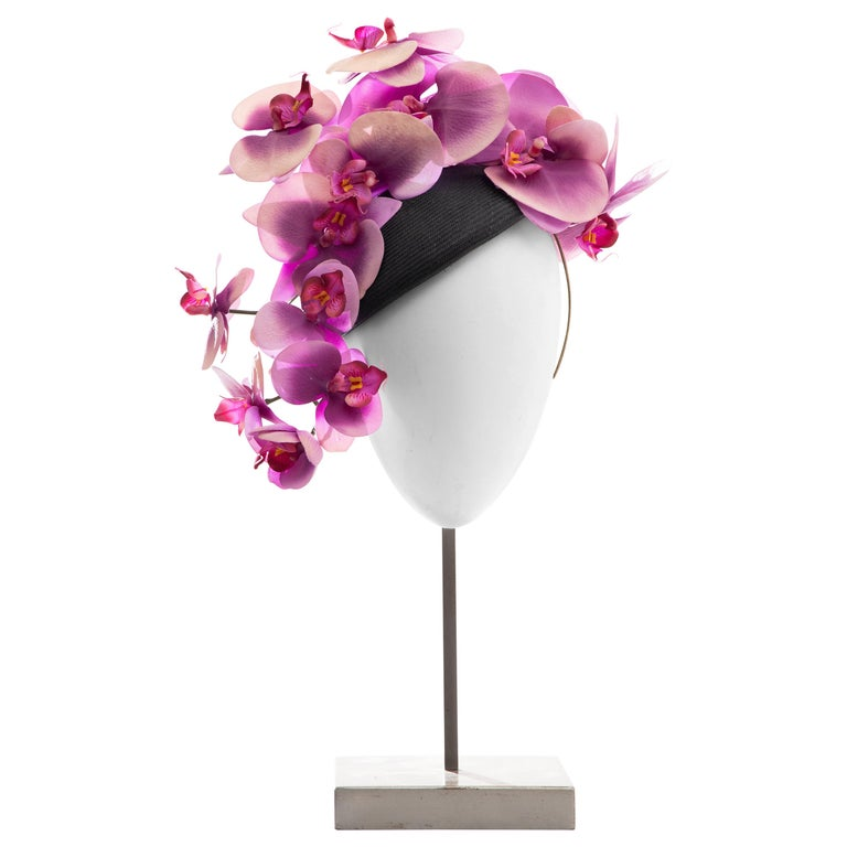 """Philip Treacy Black Buntal Fascinator """"Orchid Collection"""", Spring 2012 For Sale"""