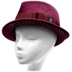 Philip Treacy Burgundy Wool Felt Fedora Hat