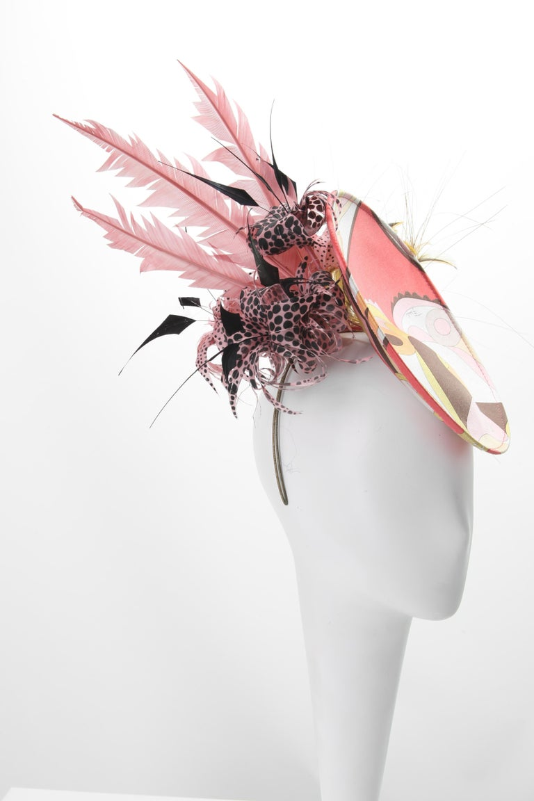 Philip Treacy for Emilo Pucci Fascinator Hat with Feathers 2004 In Good Condition For Sale In New York, NY