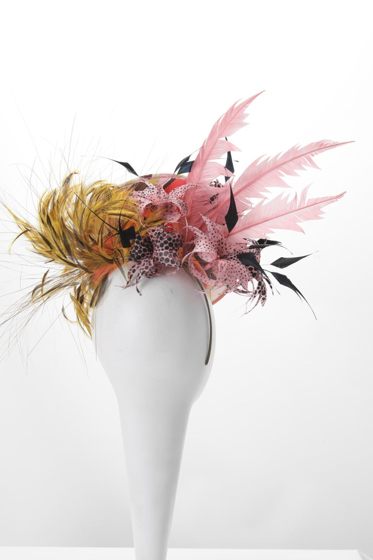 Beige Philip Treacy for Emilo Pucci Fascinator Hat with Feathers 2004 For Sale