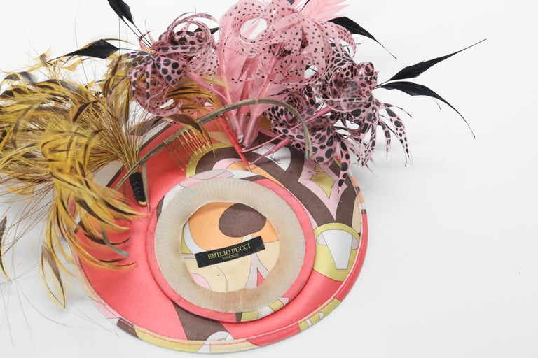 Philip Treacy for Emilo Pucci Fascinator with Feathers 2004 Classic Pucci silk print with complimentary feathers sprays on attached headband. There is some slight smudging on the silk print.