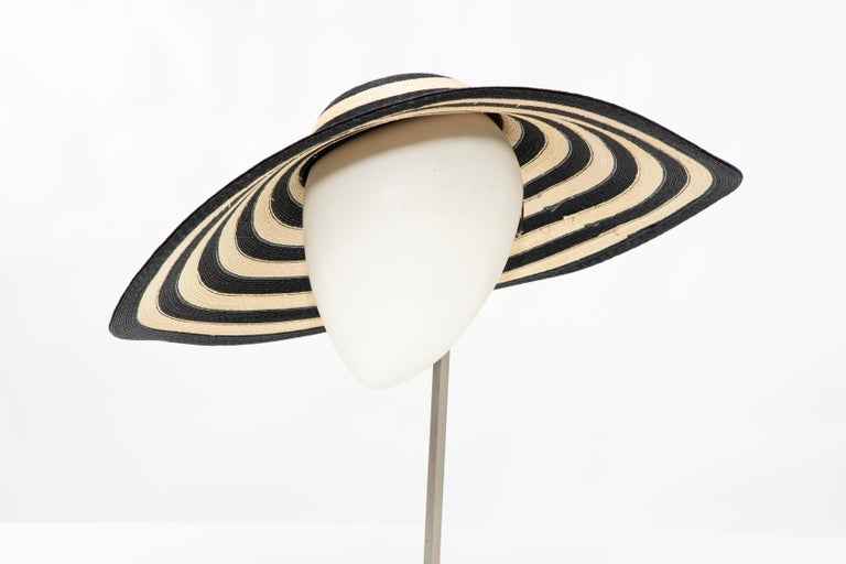 Philip Treacy for Ralph Lauren Collection Striped Raffia Hat For Sale 5