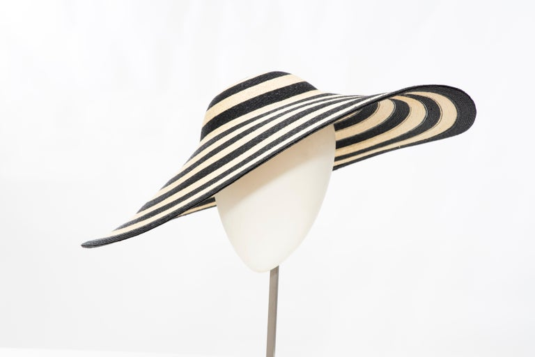 Philip Treacy for Ralph Lauren Collection Striped Raffia Hat For Sale 6