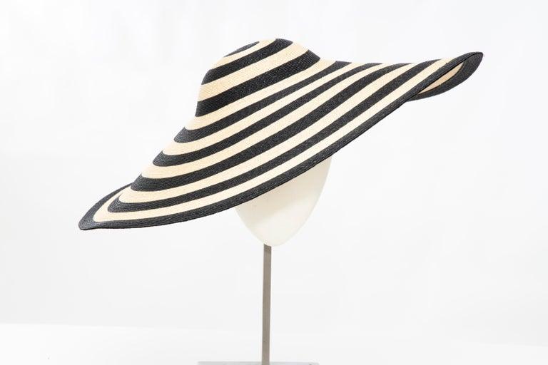 Philip Treacy for Ralph Lauren Collection Striped Raffia Hat For Sale 7