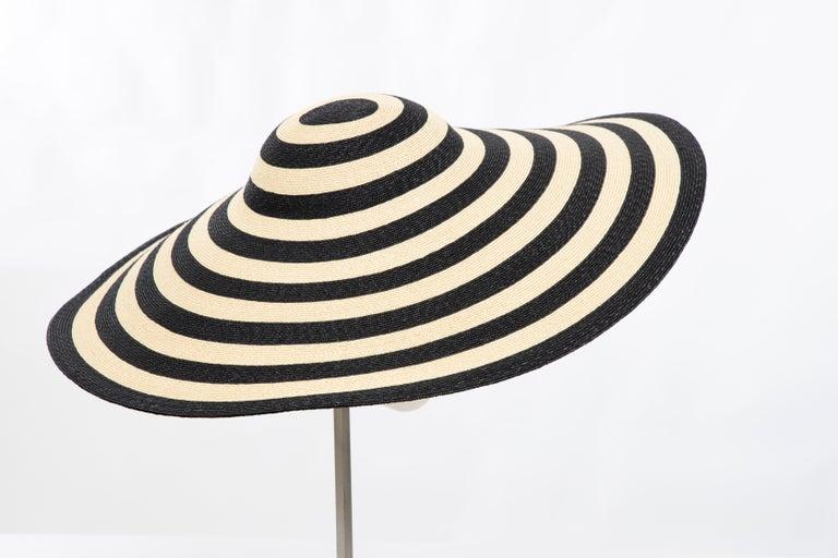Philip Treacy for Ralph Lauren Collection Striped Raffia Hat For Sale 8