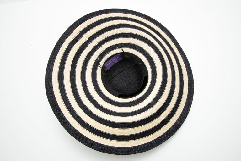Philip Treacy for Ralph Lauren Collection Striped Raffia Hat For Sale 9
