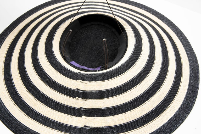 Philip Treacy for Ralph Lauren Collection Striped Raffia Hat For Sale 10