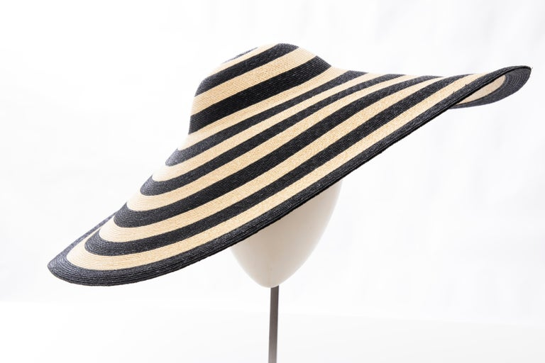Black Philip Treacy for Ralph Lauren Collection Striped Raffia Hat For Sale