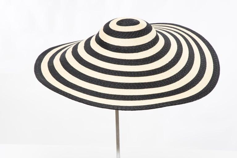 Women's Philip Treacy for Ralph Lauren Collection Striped Raffia Hat For Sale