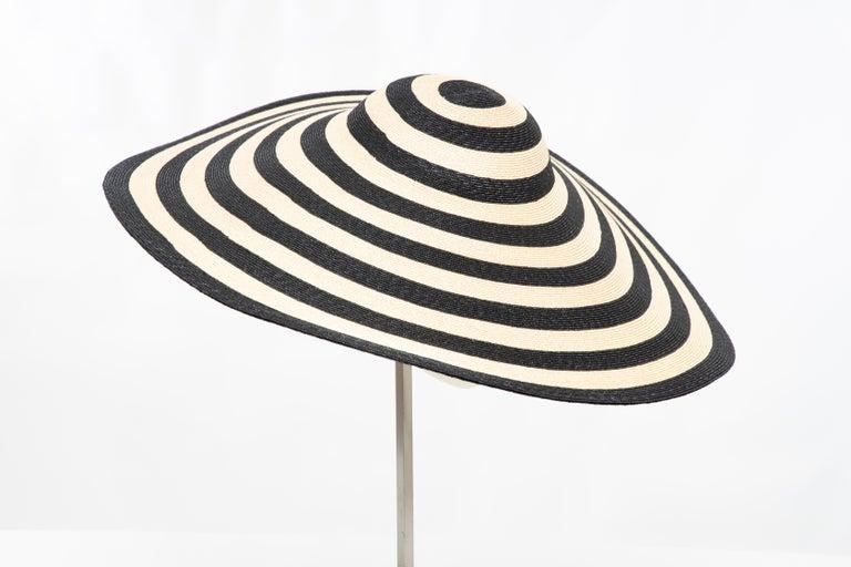 Philip Treacy for Ralph Lauren Collection Striped Raffia Hat For Sale 1