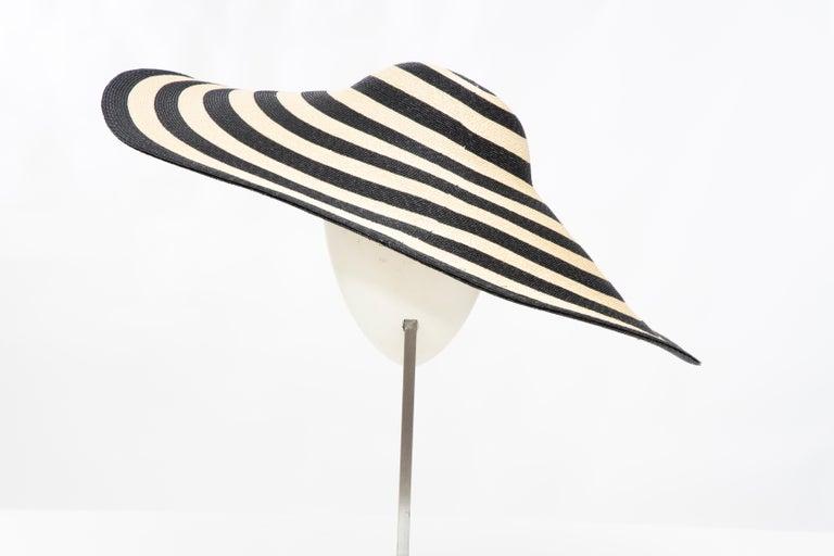 Philip Treacy for Ralph Lauren Collection Striped Raffia Hat For Sale 2