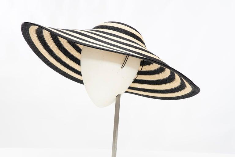 Philip Treacy for Ralph Lauren Collection Striped Raffia Hat For Sale 3