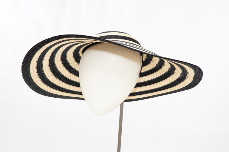 Philip Treacy for Ralph Lauren Collection Striped Raffia Hat For Sale 4